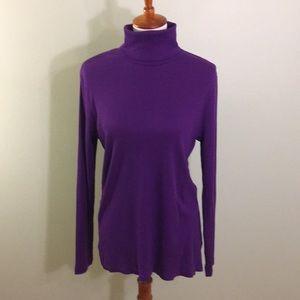 NWT Size L Purple Ribbed Turtleneck Lauren Ralph L